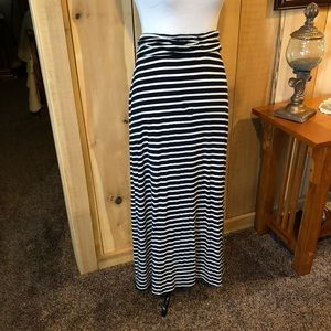 J Crew Maxi Skirt Blue and White Striped